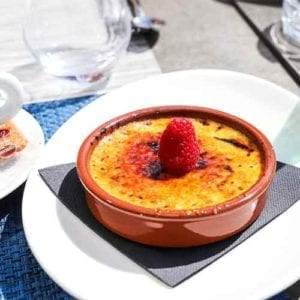 Dessert idea available, the creme brulee