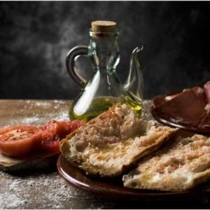 Glass bread - pa de vidre from Spain with tomato and olive oil