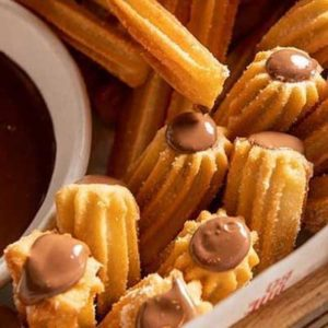 Chocolate filled churros made in spain