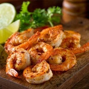Red Shrimp Shell On grilled on a cutting board