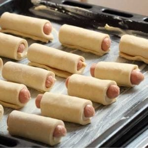 Sausages with Butter Puff pastry rolls from France