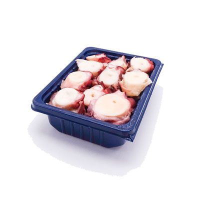 tray of Sliced Spanish Octopus Tentacles (cooked)