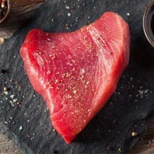 1 piece of ahi Tuna Steaks with salt and pepper