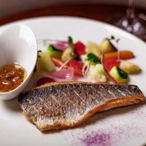 Branzino, European Sea Bass - lubina, grilled with vegetables