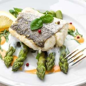 Day-Boat hake loin with asparagus and sauce