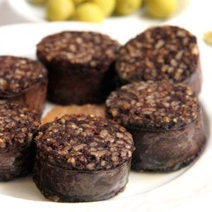 Rice morcilla sausage slices