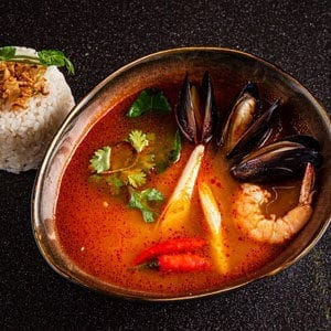 Mediterranean red shrimp broth with mussels shrimp and rice