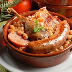Toulouse sausage in a cassoulet