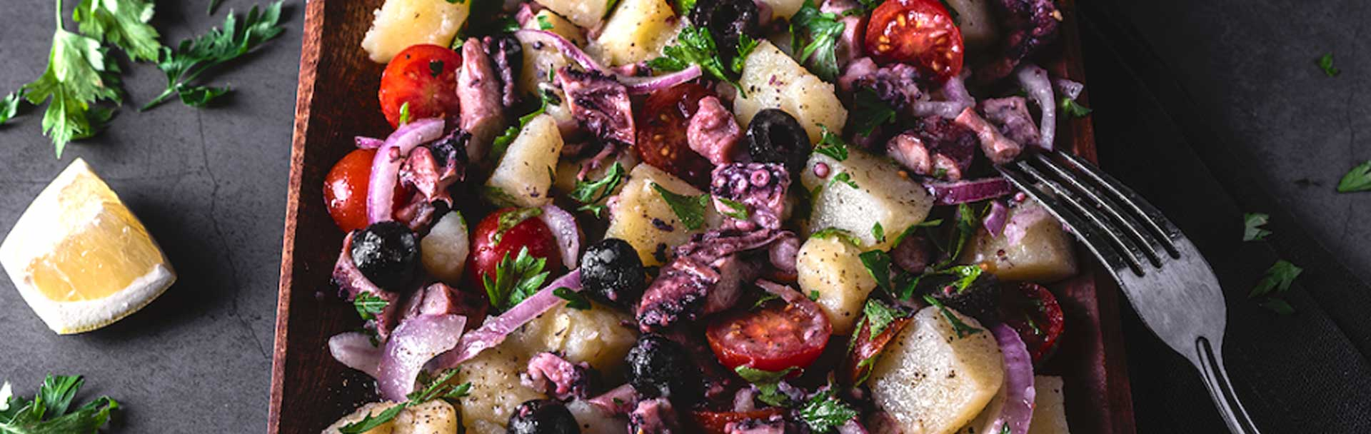 Octopus salad recipe with potatoes tomatoes and onions