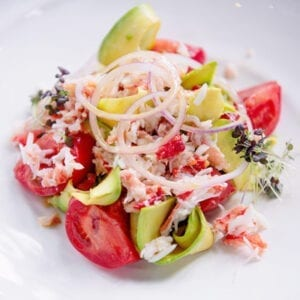 crab meat salad cooked with vegetables
